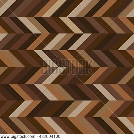 Seamless Zigzag Geometric Pattern. Abstract Background With Chevron Shape. Brown Color Tone. Texture