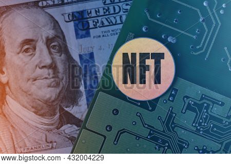 Nft Coin On Printed Circuit Board. Electronic Board, Us Dollar And Nft Technology. Rolling Out New N