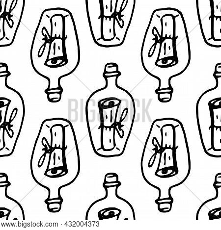 Vector Pattern Of A Bottle With A Message Inside.seamless Pattern Of A Hand-drawn Glass Bottle In Th
