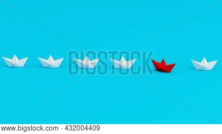 White Paperboats In One Direction With One Red Paperboat Changing Direction On Cyan Background. Bein