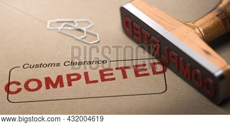 3d Illustration Of A Rubber Stamp And The Word Completed Printed Over A Rectangular Box With The Lab