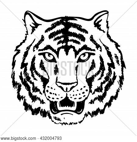 Black And White Tiger Face. Growling Tiger Head Silhouette, Vector. 2022 Tiger Head On White Backgro