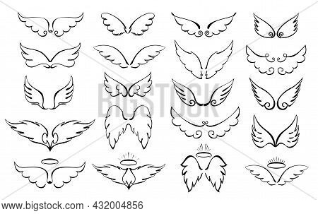 Wings Are A Big Set. Wings And Halo. Angel Winged Glory Halo Cute Cartoon Doodles Vector Illustratio