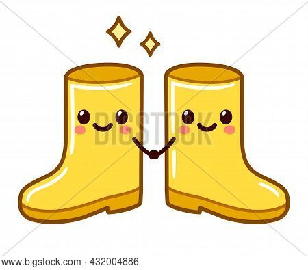 Pair Of Two Cartoon Yellow Rain Boots With Cute Faces Holding Hands. Kawaii Rubber Boot Couple, Vect
