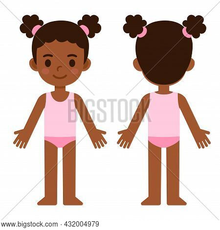 Cute Cartoon Little Black Girl In Underwear, Front And Back, Body Part Anatomy Template. Isolated Ve