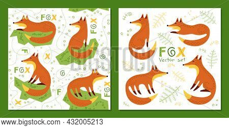 Foxes - Seamless Vector Background And Set. Loop Pattern And Print For Fabric, Textile, Posters, Gif