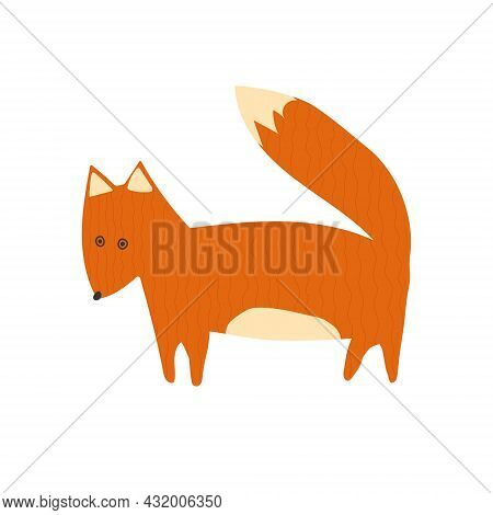 Hand Drawn Cartoon Vector Illustration Set Of Cute Orange Fox. Isolated On White, Side View.