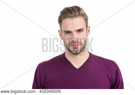 Unshaven Guy With Healthy Hair On Young Facial Skin Isolated On White, Skincare