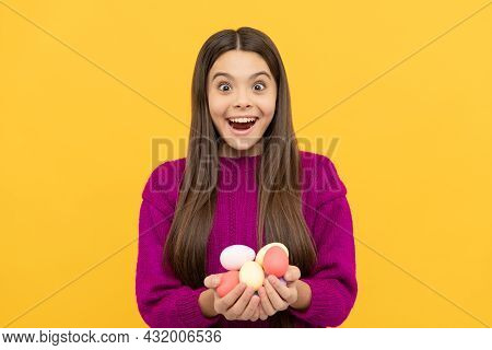 Surprised Easter Teen Girl Hold Quail Painted Eggs, Happy Easter