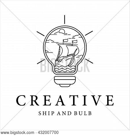 Ship And Bulb Lamp Logo Line Art Minimalist Simple Vector Illustration Template Design. Sailboat Ins