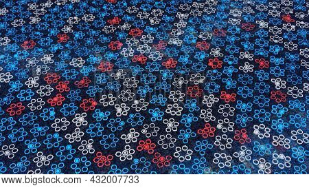 Background For Focusing On Small Moving Dots. Animation. Electronic Background With Multicolored Dot