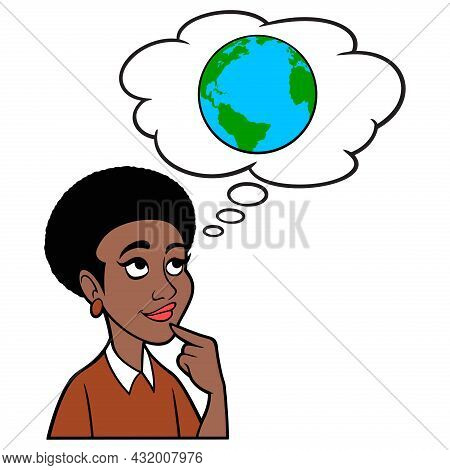 Woman Thinking About Climate Change - A Cartoon Illustration Of A Woman Thinking About Climate Chang
