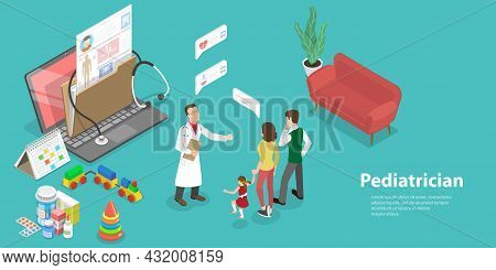 3d Isometric Flat Vector Conceptual Illustration Of Pediatrician, Online Medical Appointment Familie
