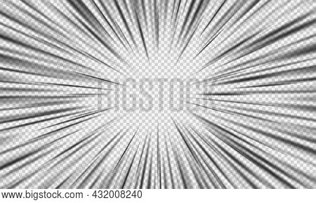 Crash Zoom Vector Effect Isolated, Manga Speed Frame Or Radial Anime Speed Lines, Realistic Cinemati