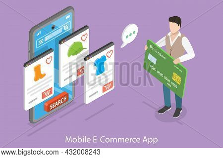 3d Isometric Flat Vector Conceptual Illustration Of Mobile Ecommerce App, Shopping And Paying Safely
