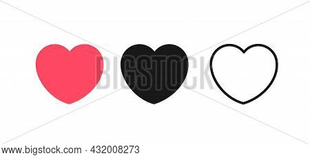 Red, Black And Thin Line Heart Set Different Types Symbol Of Love, Passion Feeling Or Romance. Vecto