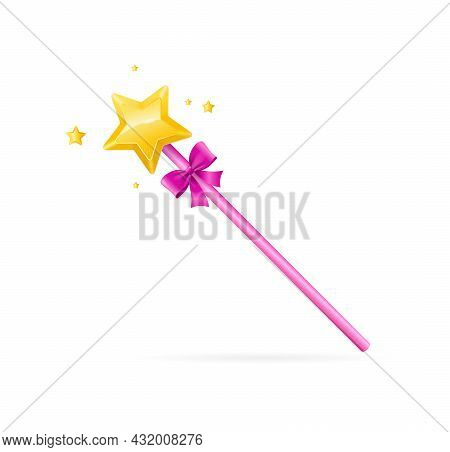 Realistic Detailed 3d Pink Magic Wand With Golden Star Symbol Of Miracle, Fairytale And Desire. Vect