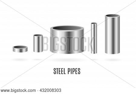 Realistic Detailed 3d Shiny Round Steel Or Metal Pipes Set For Fuel Or Gasoline. Vector Illustration