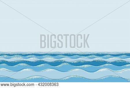 Sea Art In Line And Shape Technique, Colorful Seascape Background, Vector Illustration Of An Ocean A