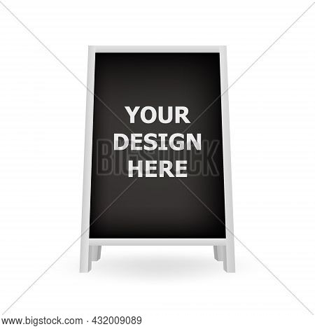 Realistic Blank Chalkboard A-frame Standee. Advertisement Stand For Outdoor Menu. Special Advertisin