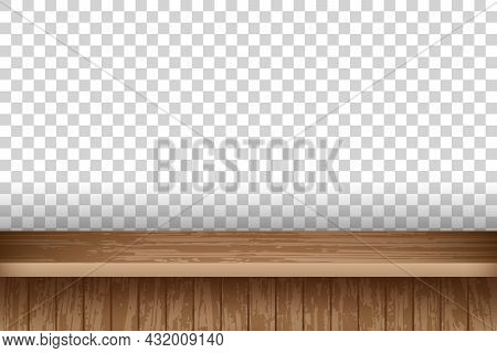 Realistic Wood Table Top For Online Store Advertising. Vintage Dining Desk With Old Wooden Texture V