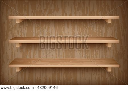 Set Of Wooden Shelves On Wall. Realistic Bookshelves With Wood Texture. Grocery Racks With Brown Woo