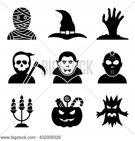 Cute Halloween Silhouette Icon Set. Funny Costume Of Dracula, Mummy, Witch, Grim Reaper, Vampire For