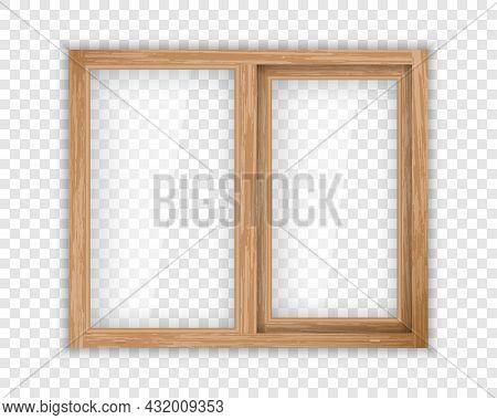 Realistic Window With Wood Texture Frame. Double Casement Wooden Window Mockup Template. Windowpane