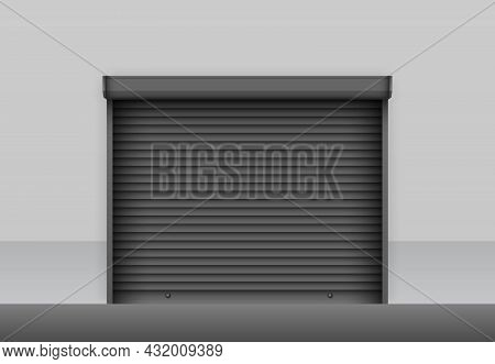 Realistic Black Roller Shutter Door On Grey Storage Wall. Industrial Roller Shutter For Metal Gate.