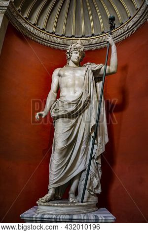 Vatican - September 25, 2018: Colossal Statue Of Antinous As Dionysos-osiris At Museo Pio-clementino
