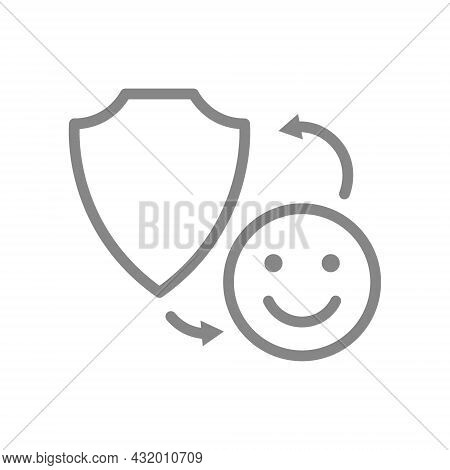 Protective Shield With Happy Face Line Icon. Protection Security Sign, Emoji Rating, Positive Assess