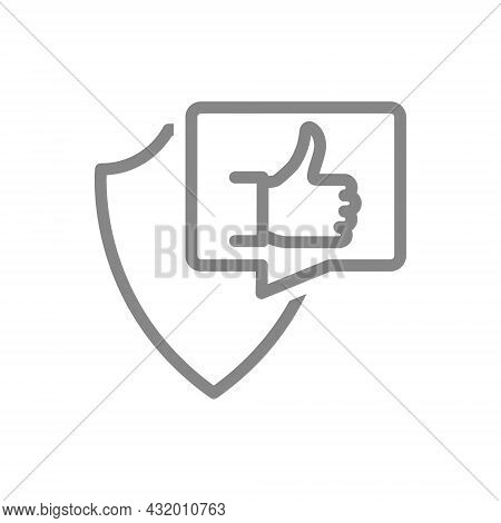 Protective Shield With Thumb Up In Buble Speech Gesture Line Icon. Insurance, Positive Assessment Of