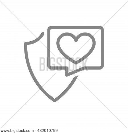 Protective Shield With Heart In Buble Speech Line Icon. Security Sign, Insurance, Positive Assessmen