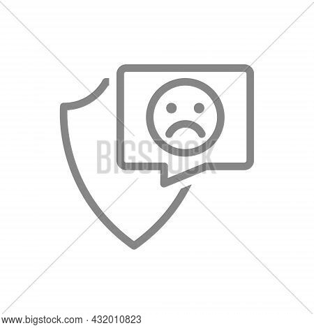 Protective Shield With Sad Face In Buble Speech Line Icon. Protection, Emoji Rating, Feedback, Negat
