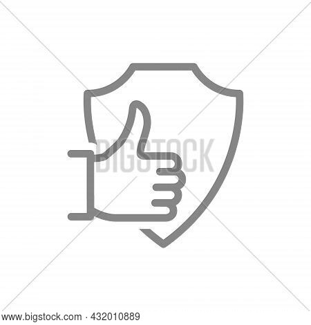 Protective Shield With Thumb Up Gesture Line Icon. Protection, Insurance, Positive Assessment Of The