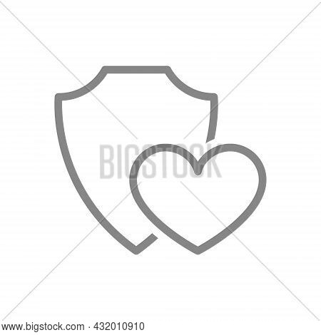 Protective Shield With Heart Line Icon. Protection, Security Sign, Feedback, Review, Positive Assess