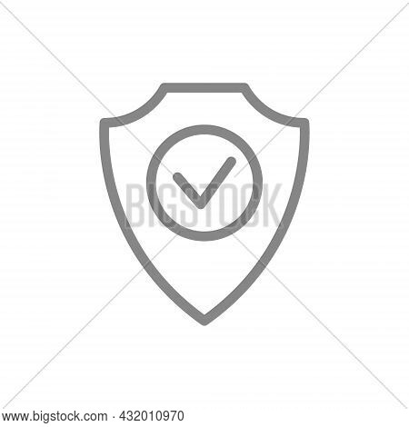 Protective Shield With Check Mark Line Icon. Protection, Satisfaction, Positive Assessment Of The Pr