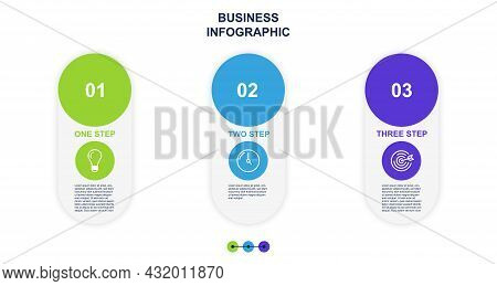 Business Infographics Concept. Poster Showing Main Step To Achieve Result. Data Visualization. Conve
