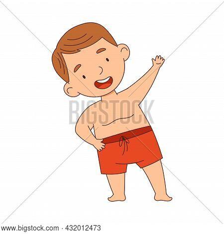 Little Boy Standing In Swimming Trunks Bending Right Vector Illustration