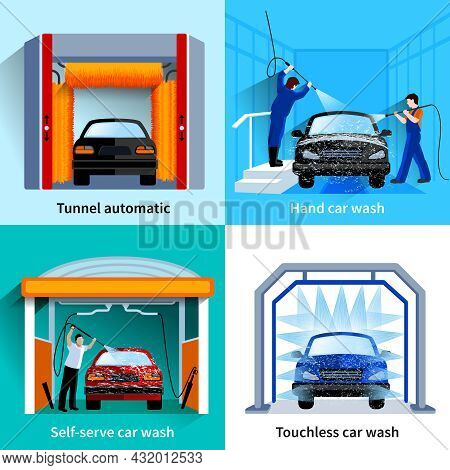 Car Wash Center Automatic Touchless And Self Service Facilities 4 Flat Icons Square Composition Abst