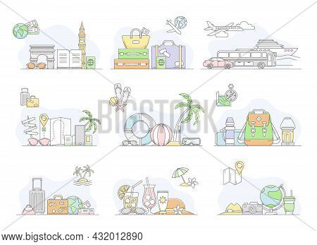 Travelling Around The World And Journey To Other Country For Vacation Line Vector Set