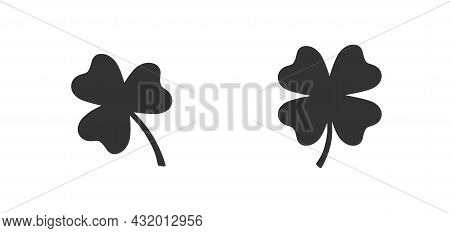 Clover Vector Icon Isolated On White Simple Leaf Sign Flat Design Shamrock Logo St Patrick Day Symbo