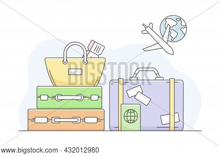 Travelling Around The World And Journey To Foreign Country For Vacation With Luggage And Suitcase Li