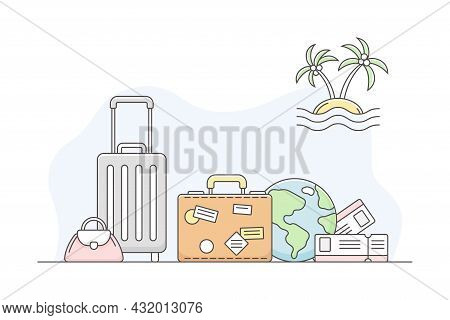 Travelling Around The World And Journey To Foreign Country For Vacation With Suitcase And Globe Line