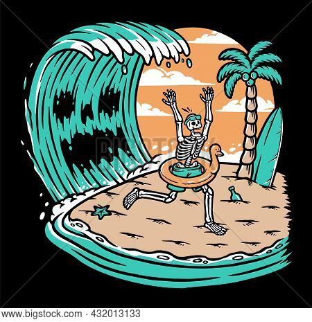 Skull Attacked By Giant Waves Vector Illustration