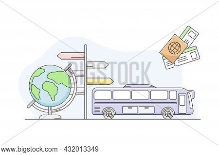 Travelling Around The World And Journey To Foreign Country For Vacation With Bus, Globe And Signpost