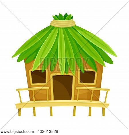 Tropical Hut Or Bungalow With Roof Of Palm Leaves Vector Illustration