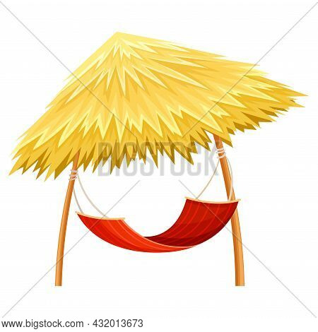Hammock Hanging On Poles With Thatched Roof Shade Vector Illustration
