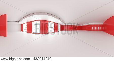 Full 360 Degree Panorama Environment Map Of Abstract Red Wall Studio Loft Interior 3d Render Illustr