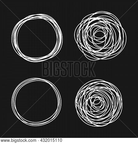 Set Of Tangled Grungy Scribbles With Chalk Board Effect, Hand Drawn With Thin Line. Isolated On Blac